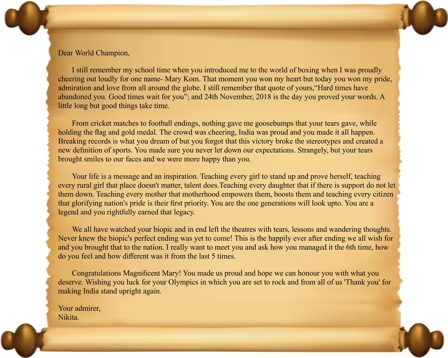A heartfelt Letter to the champion- Mary Kom